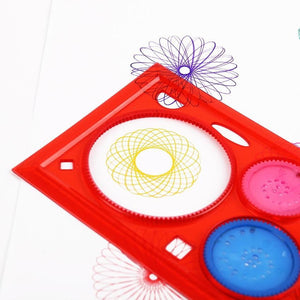 2 PCS Multi functional Geometric Puzzle Spirograph Ruler