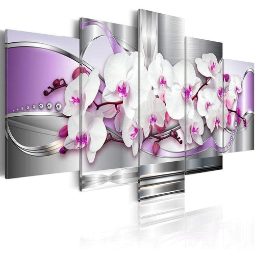 artlyne - Purple Orchid Wall Art Picture Canvas Paintings for living room Framed 5 Pieces Canvas Photo Prints - Artwire -