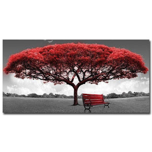artlyne - Modern Red Money Tree Wall Art Canvas Posters Prints unframed 60x120cm - Artwire - Art