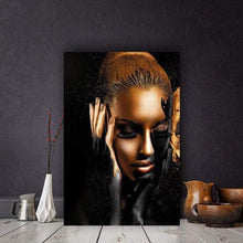 Load image into Gallery viewer, artlyne - Black Gold African Art Woman Oil Painting on Canvas Cuadros Posters and Prints - Artwire -