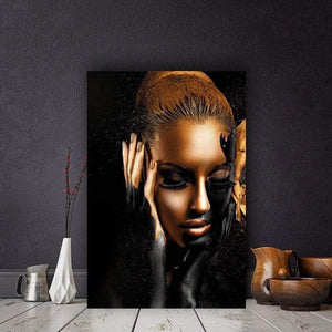 artlyne - Black Gold African Art Woman Oil Painting on Canvas Cuadros Posters and Prints - Artwire -
