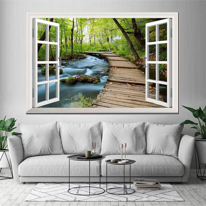 artlyne - Forest Scenery Outside the Window Canvas Painting Posters - Artwire -