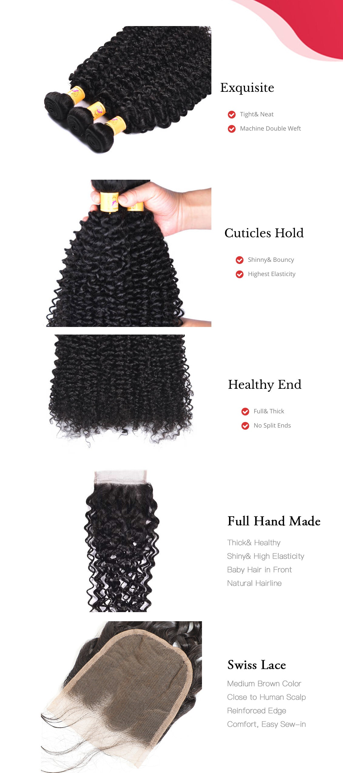 MarchQueen Jerry Curl Hair 4 Bundles with Closure