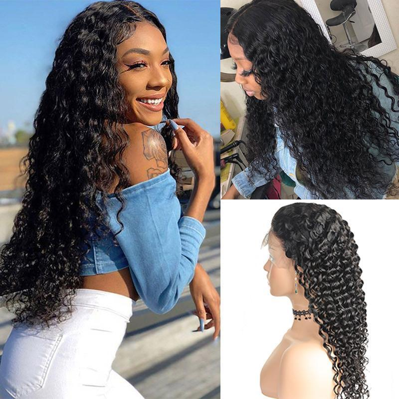 MarchQueen 13*6 Lace Front Human Hair Wigs Deep Wave 150% 180% Pre Plucked Lace Frontal Wigs with Deep Part For Women
