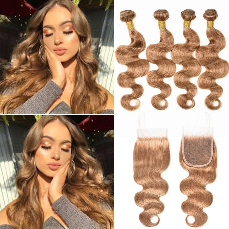 MarchQueen #27 Honey Blonde Human Hair Weave 4 Bundles Body Wave With Closure