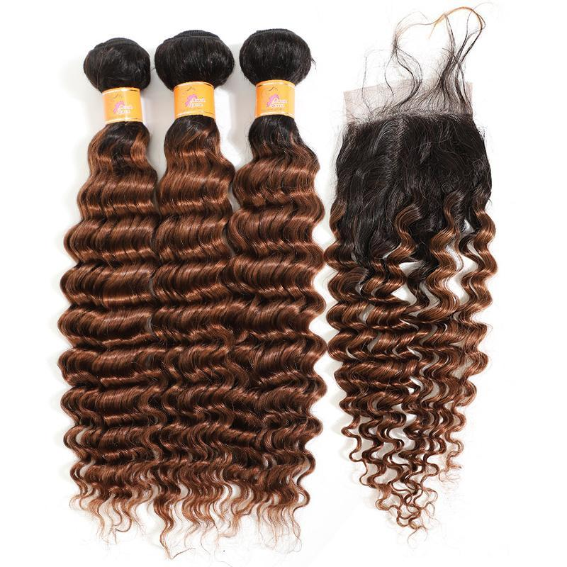 MarchQueen Brazilian Human Hair Weave T1b/30 Ombre Hair Deep Wave Hair 3 Bundles With Lace Closure On Sale