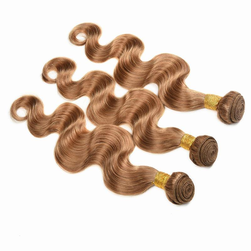 Body Wave Human Hair Honey Blonde 27#