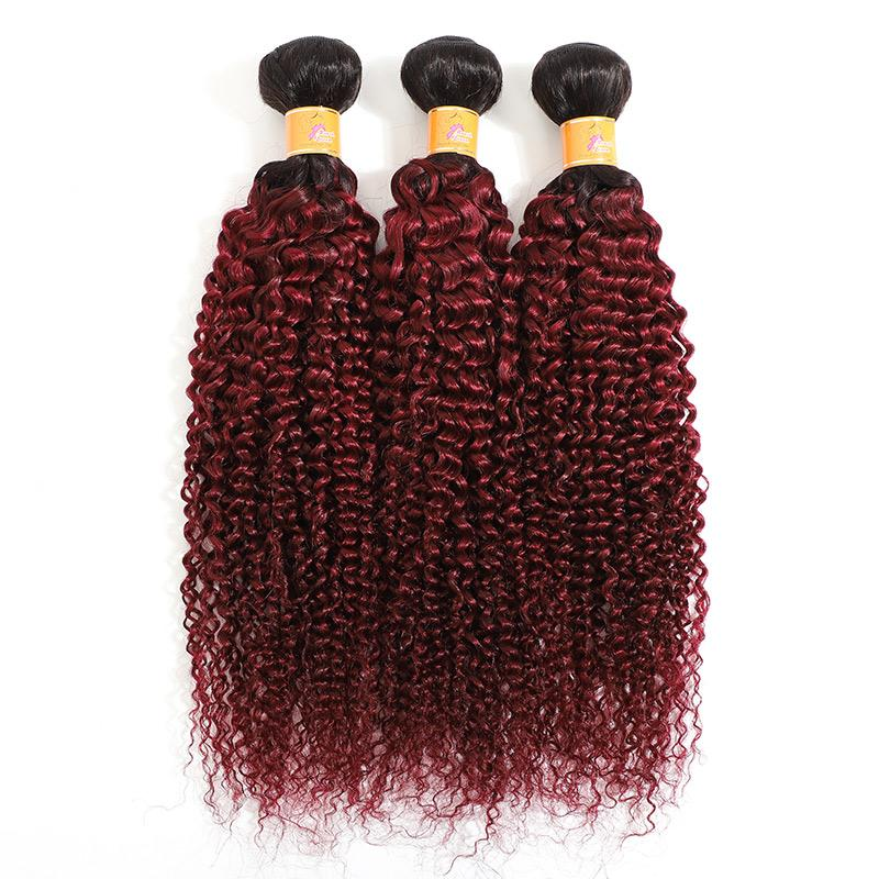 MarchQueen Cheap Hair Brazilian Curly Hair Weave 3pcs Cheap Bundles Of Human Hair Ombre T1b 99J For Sale
