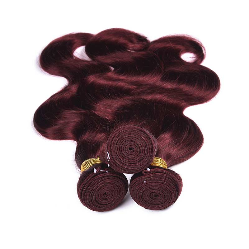 MarchQueen 99j Red Wine Colored Weave Human Hair Body Wave 4 Bundles With Closure