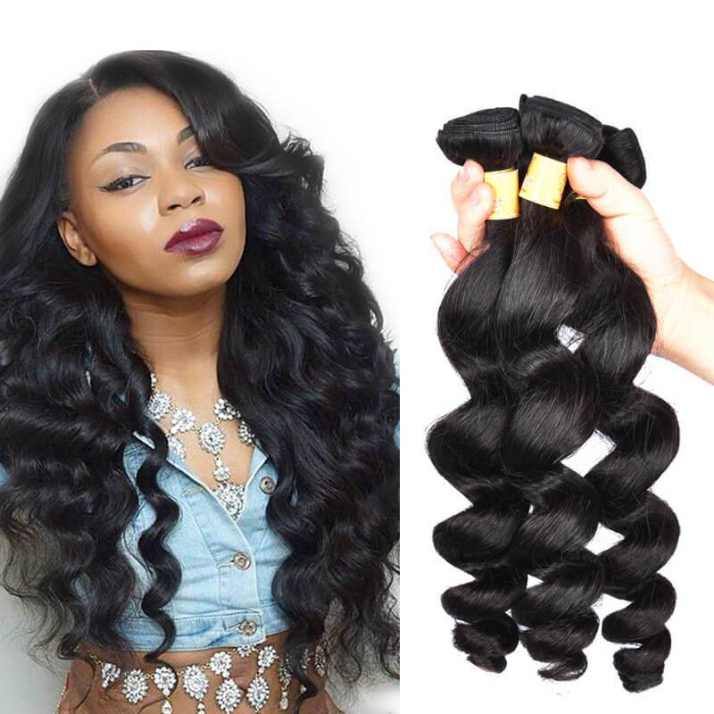 Marchqueen Brazilian Loose Wave Human Hair Weave 3 Bundles Of Hair Extension 1b#