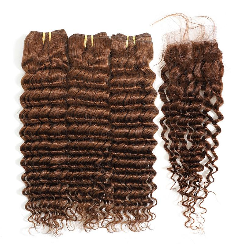 MarchQueen Deep Wave 3 Bundles With Closure 4x4 Lace Closure With Baby Hair Cheap Weave Online 4#