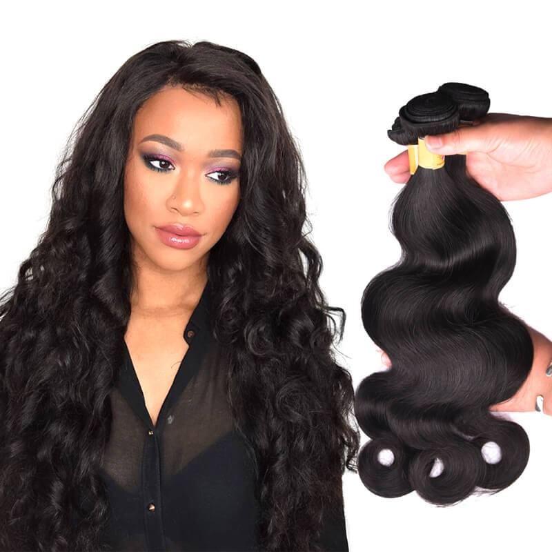 MarchQueen Indian Virgin Hair Body Wave Human Hair Weave 3 Bundle Deals Natural Black Color 1b#
