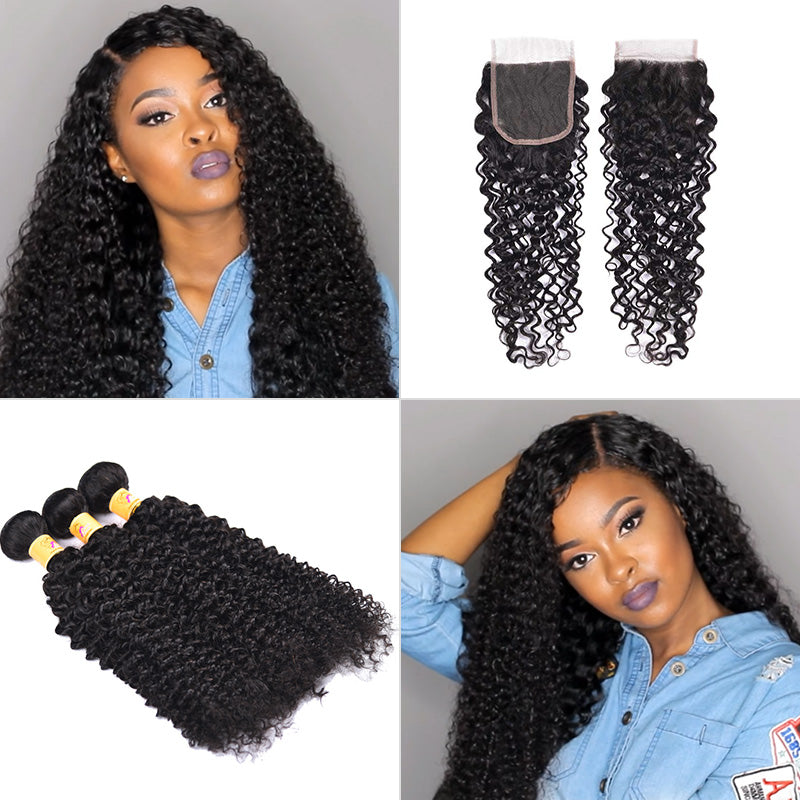 peruvian curly bundles with closure