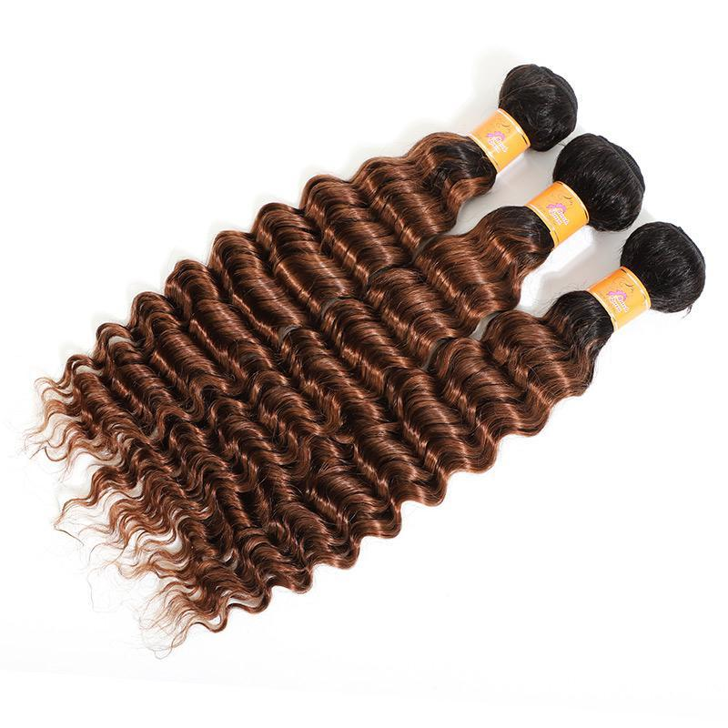 Brazilian Human Hair Weave T1b/30 Ombre Hair Deep Wave Hair 3 Bundles With Lace Closure
