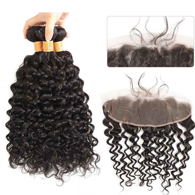 MarchQueen Cheap Jerry Curl 3 Bundles With Frontal 13x4 Brazilian Curly Hair Weave Extensions For Sale 1b#