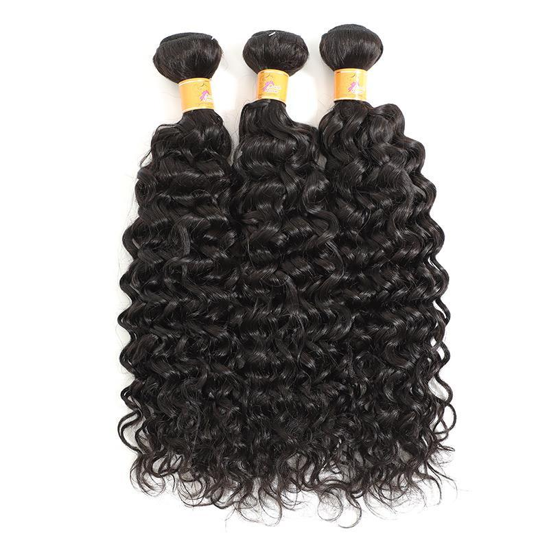 Cheap Jerry Curl 3 Bundles With Frontal Curly Hair Extensions 1b#