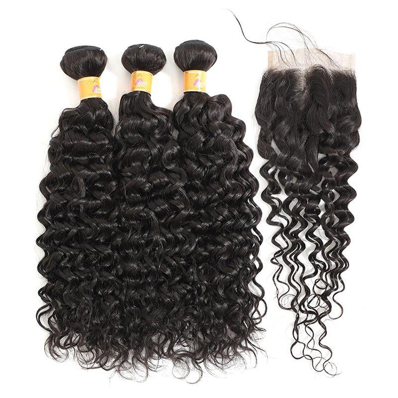 MarchQueen Jerry Curl 3 Bundles With Closure Brazilian Virgin Hair With Lace Closure goodHuman Hair Weave