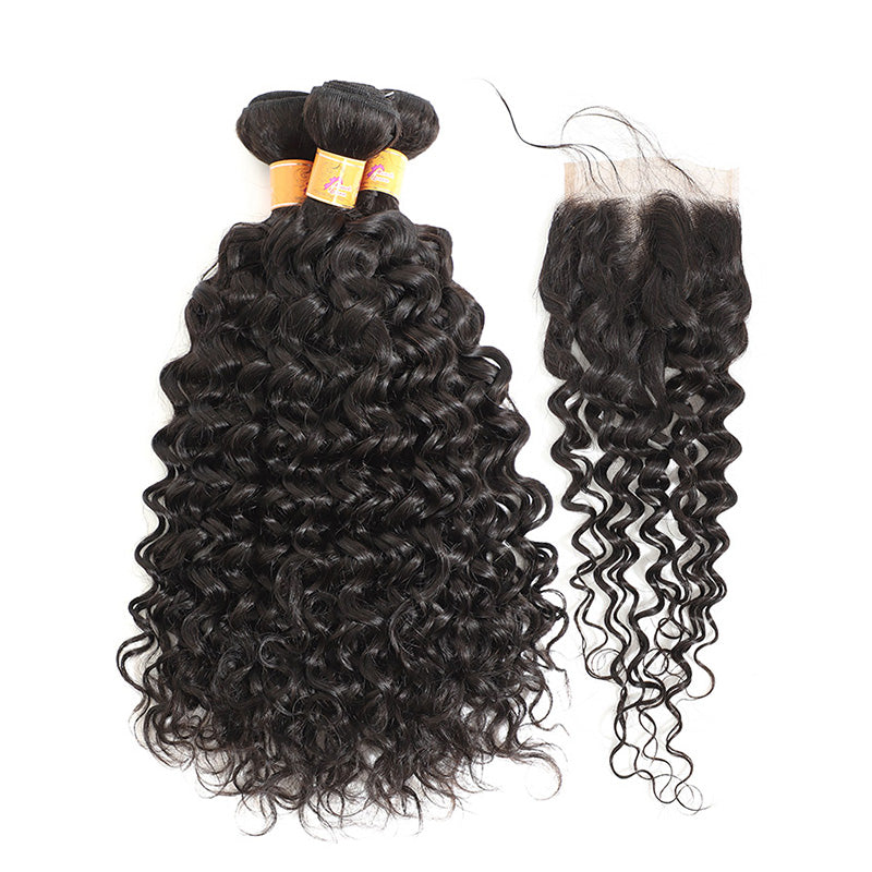 MarchQueen Jerry Curl Human Hair 3 Bundles With Closure 4x4 Indian Virgin Hair Good Cheap Weave For Sale 1b#
