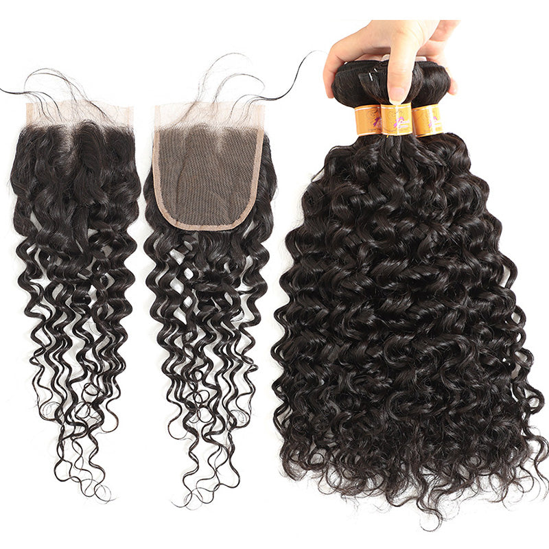 MarchQueen Malaysian Virgin Hair Jerry Curl 3 Bundles With Closure Affordable Virgin Hair Bundles And Closure