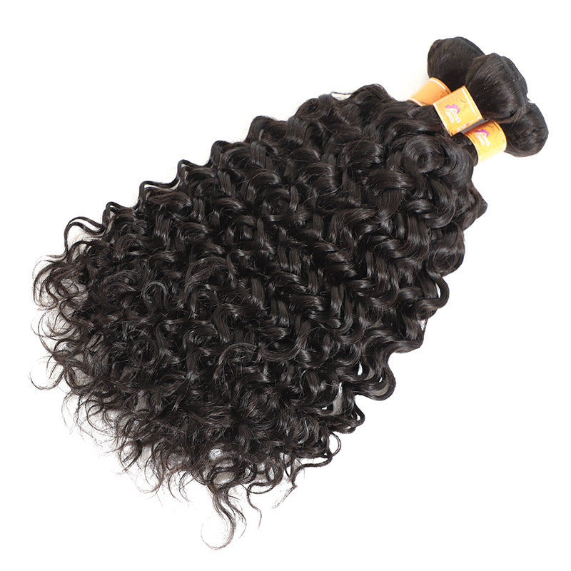 Malaysian Virgin Hair Jerry Curl 3 Bundles With Closure 1b#