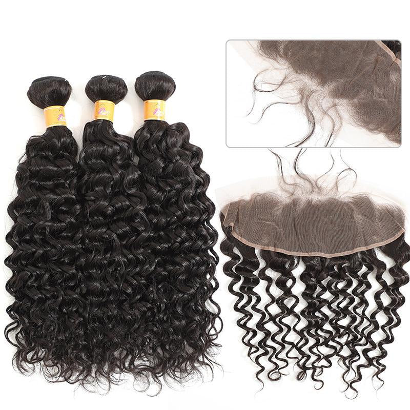 MarchQueen Human hair Weave Jerry Curl 3 Bundls With Lace Frontal Closure Ear To Ear 13x4 Cheap Peruvian Hair