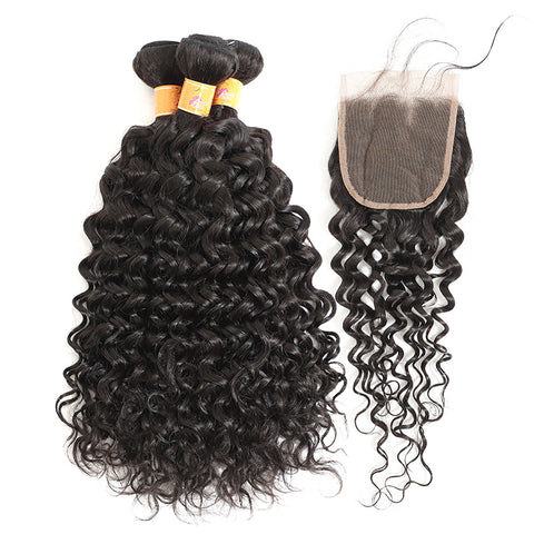 MarchQueen Peruvian Virgin Hair Jerry Curl 3 Bundles With Closure Wholesale Hair Weave Extensions For Sew In