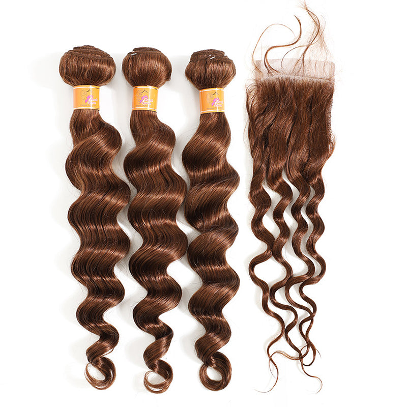 MarchQueen Loose Deep Wave 3 Bundles With Closure Virgin Human Hair 4x4 Lace Closure With Bundles For Sale 4#