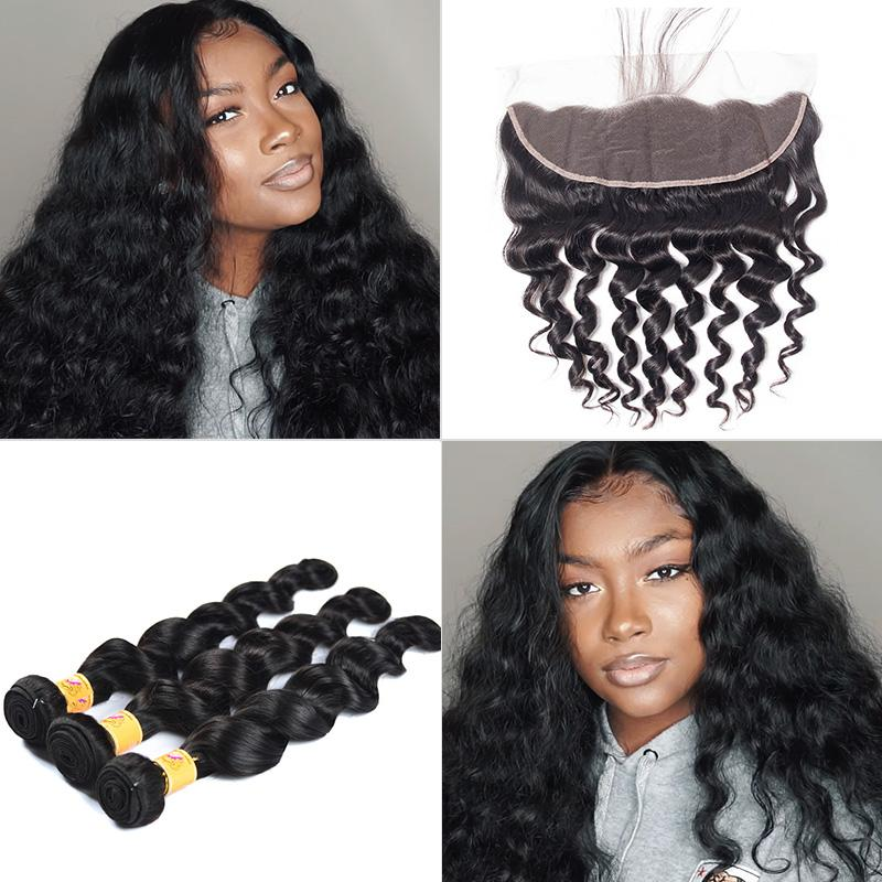 brazilian loose deep 3 bundles with frontal