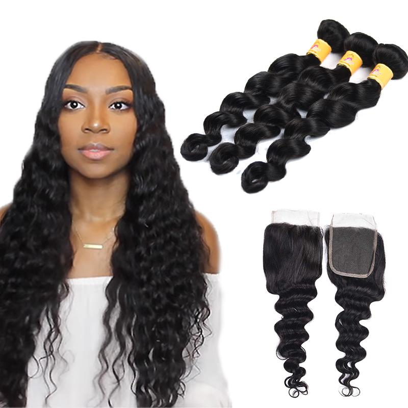 brazilian loose deep bundles with closure