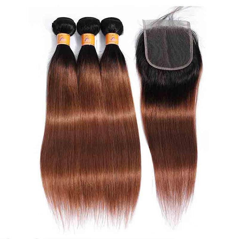 MarchQueen Brazilian Ombre Human Hair Black To Brown Weave 3 Bundles Of T1b/30 Straight Hair With Closure