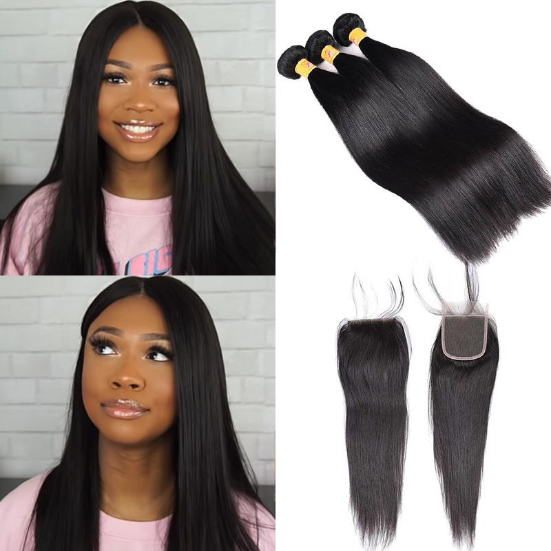 brazilian straight hair with closure