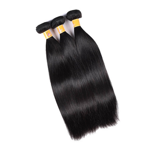 MarchQueen Malaysian Straight Hair Weave 3 Bundles With 13x4 Frontal Closure 1b#