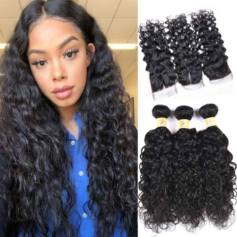 MarchQueen 3 Bundles Peruvian Water Wave Human Virgin Hair With Lace Closure Color 1b