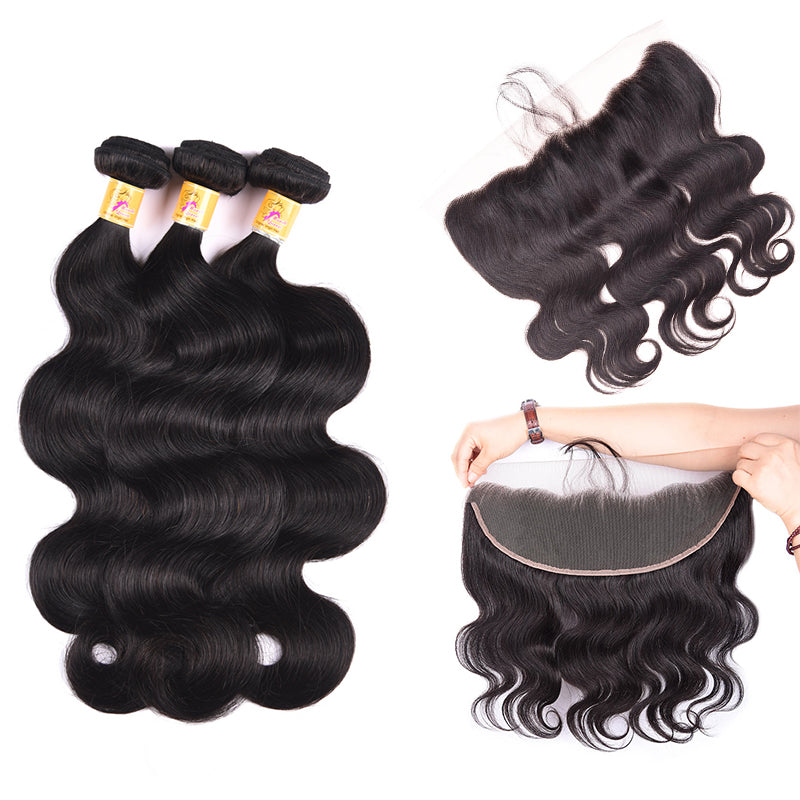 MarchQueen Peruvian Virgin Hair 3 Bundles With Frontal Closure 13x4 Body Wave 1b