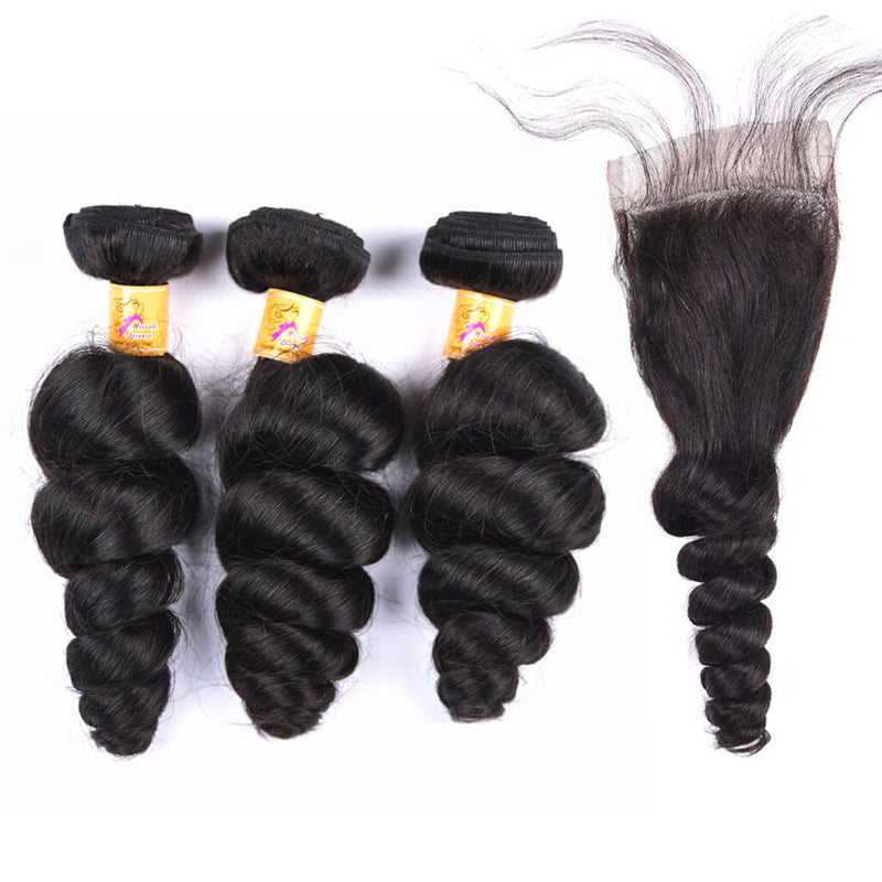 MarchQueen Malaysian Loose Wave Hair 3 Bundles With Lace Closures Human Hair 1b#