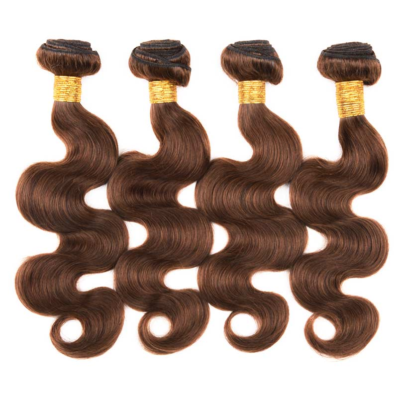 MarchQueen Brazilian Hair Body Wave 4 Bundles 100% Human Hair 10-24 Inch Good Hair Bundles 4#