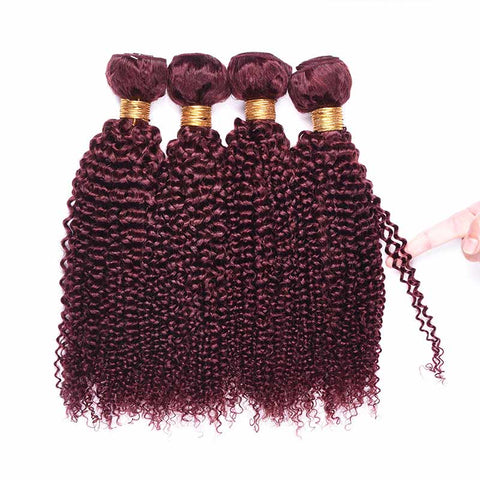 MarchQueen 99j Colored Brazilian Hair Curly Red Human Hair Weave 4 Bundles