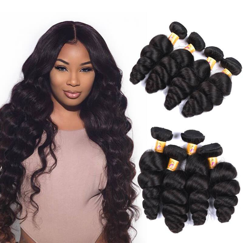 Marchqueen Brazilian Loose Wave Human Hair Weave 4 Bundles Of Hair Extension 1b#