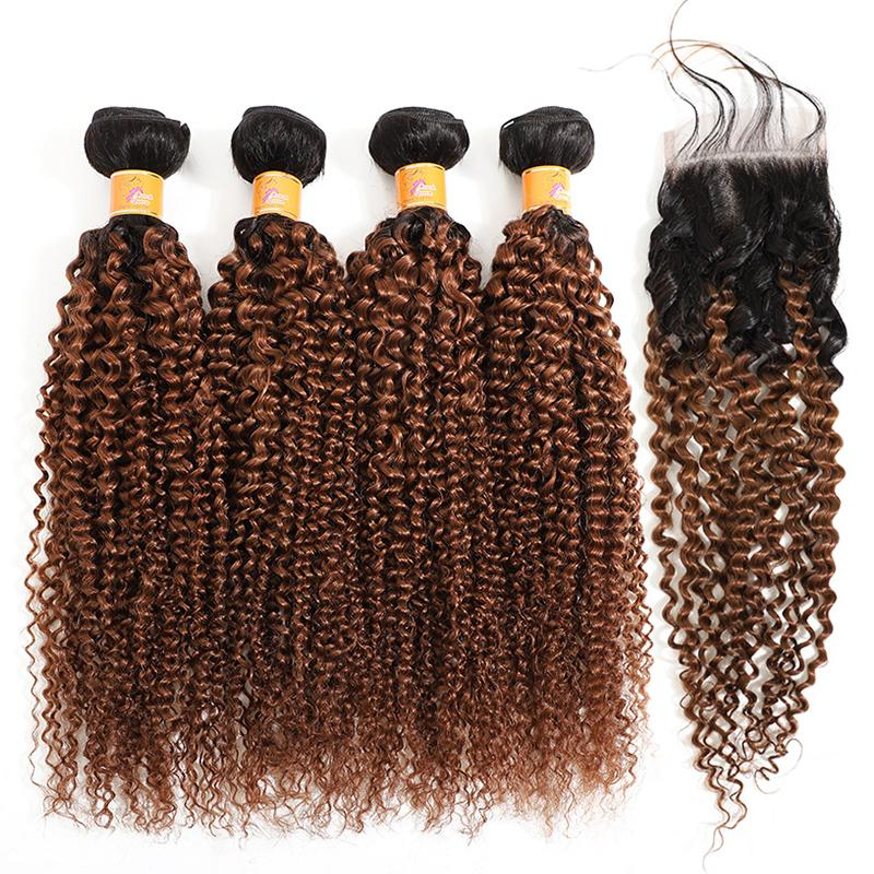 MarchQueen Brazilian Virgin Human Hair 4x4 Lace Closure With 4 Bundles Of 1b/30 Curly Hair