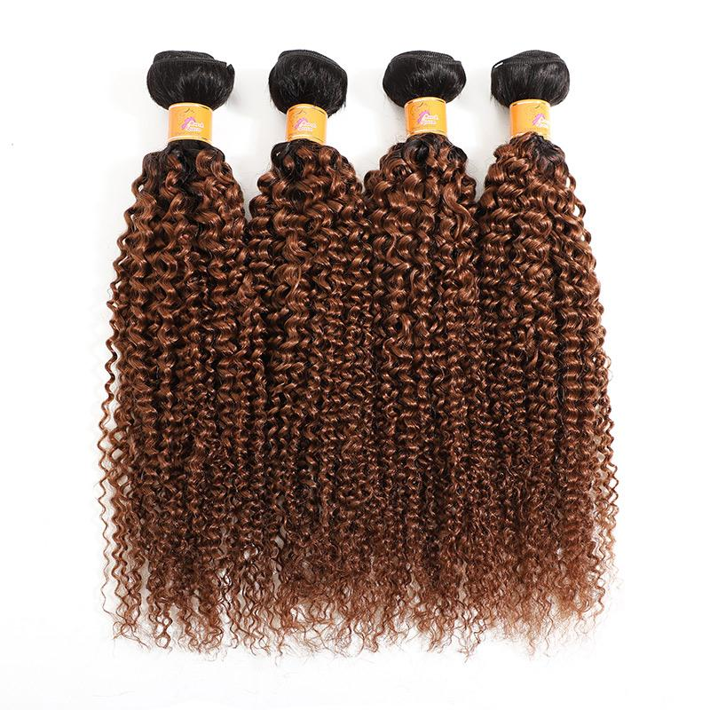 Brazilian Virgin Human Hair 4x4 Lace Closure With 4 Bundles Of 1b/30 Curly Hair