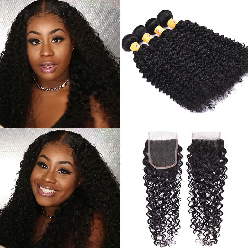 curly hair weave bundles with closure