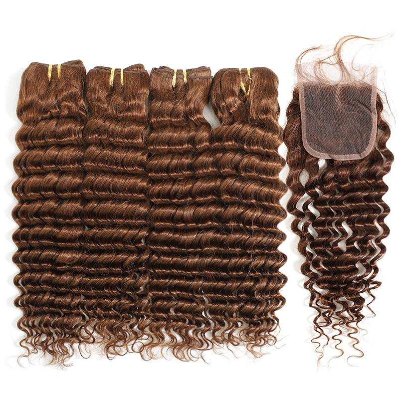 MarchQueen Cheap Deep Wave 4 Bundles With Closure Good Virgin Hair With 4x4 Lace Closure Weave 4# For Sew In