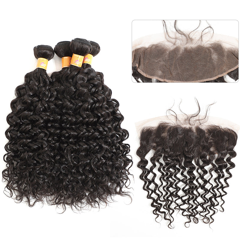 MarchQueen Jerry Curl 4 Bundles With Frontal Human Hair 13x4 Lace Frontal With Bundles Beauty Brazilian Hair