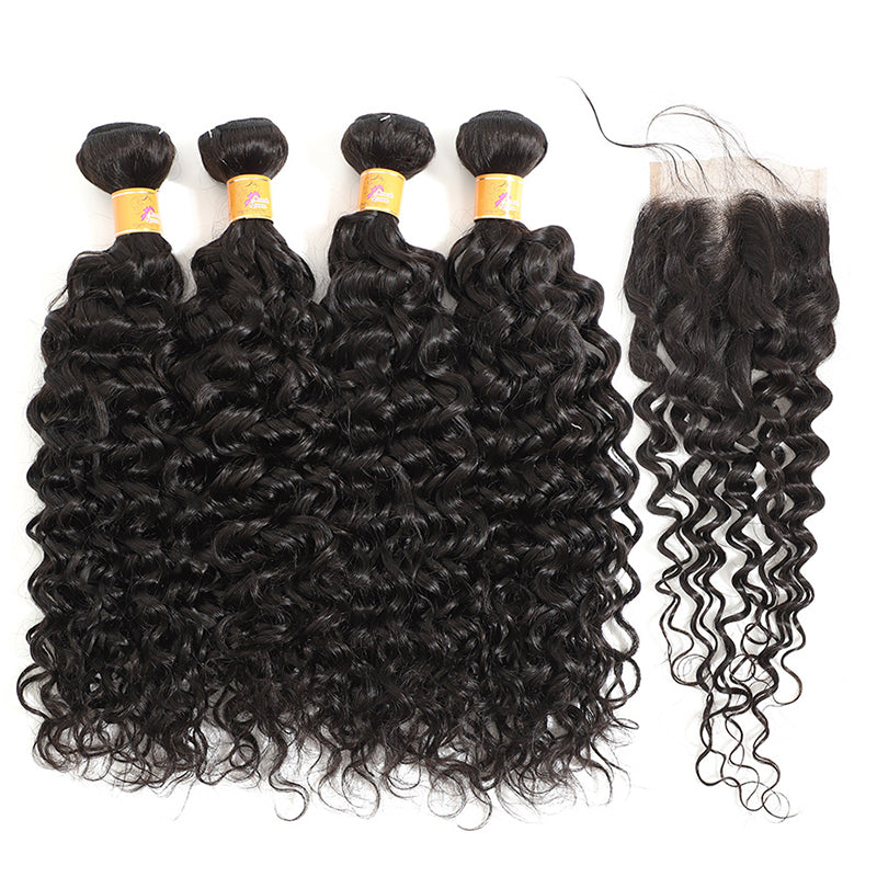 MarchQueen Jerry Curl Hair 4 Bundles With Closure Remy Brazilian Hair Bundles And Free Parting Lace Closure