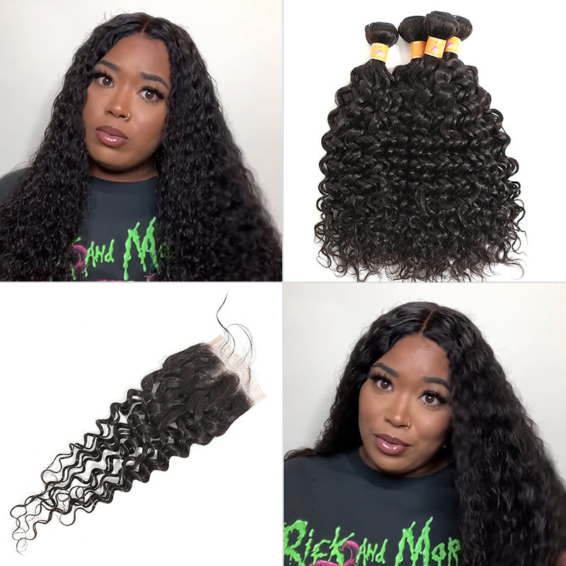 brazilian jerry curl 4 bundles with closure