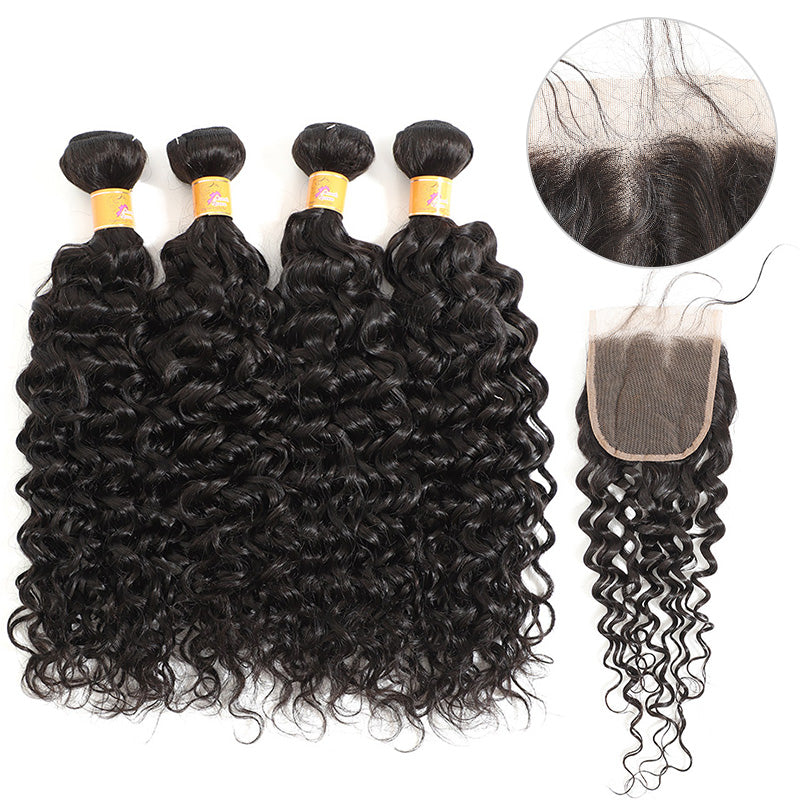 MarchQueen Peruvian Jerry Curl Hair 4 Bundles With Closure 4x4 Cheap Curly Hair Extensions On Sale 1b#