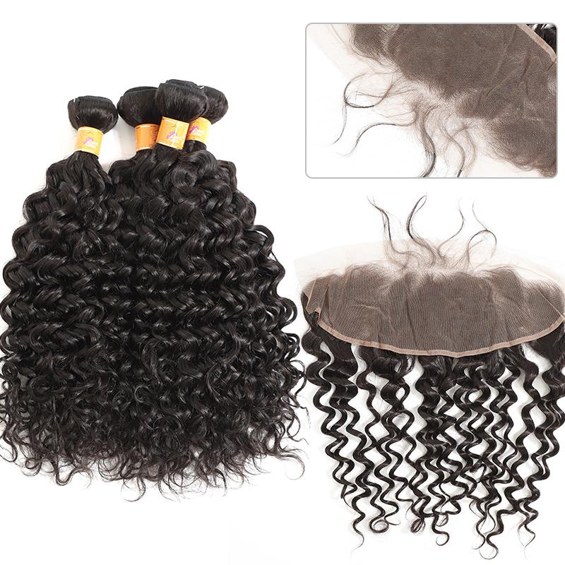 MarchQueen Cheap Jerry Curl 4 Bundles With Lace Frontal Peruvian 13x4 Frontal With Bundels Hair Extensions