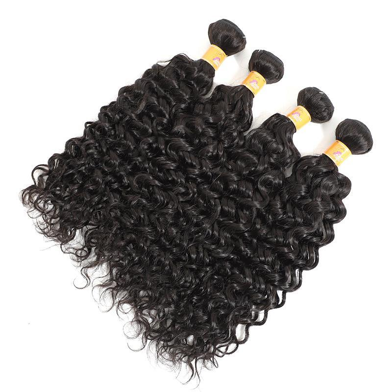 Cheap Jerry Curl 4 Bundles With Lace Frontal Peruvian Hair Extensions