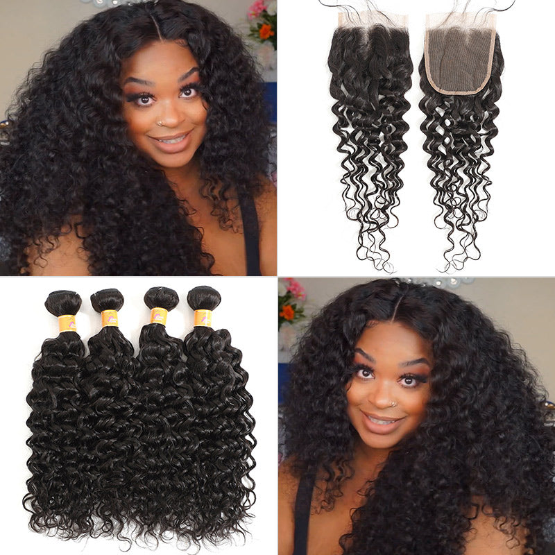 peruvian jerry curl 4 bundles with closure