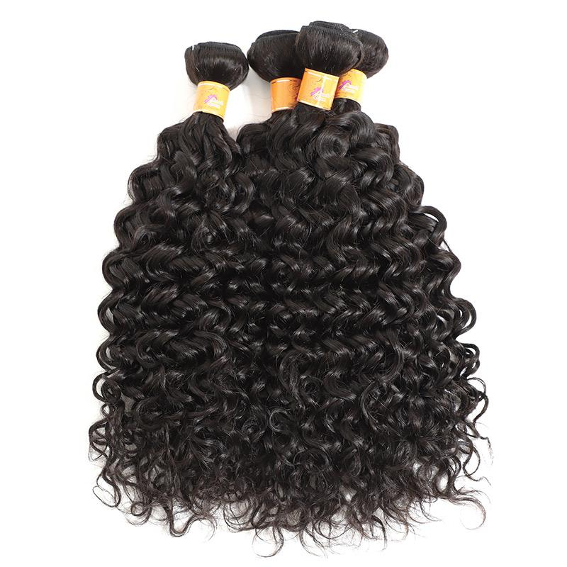 Indian Hair Weave Jerry Curl 4 Bundles with Lace Closure Extension